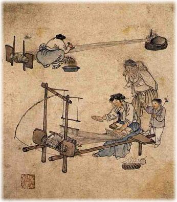 機織りと整経(李氏朝鮮時代) 上の絵は、1780年頃、李氏朝鮮時代の画家が描いたものです。手前で